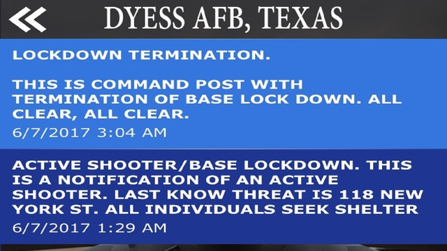 'Active Shooter' Situation Prompted Overnight Lockdown at Dyess AFB