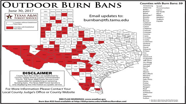 Texas A&M Forest Service issues map of burn bans across the state