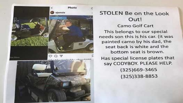 Family searching for golf cart stolen from man with special needs