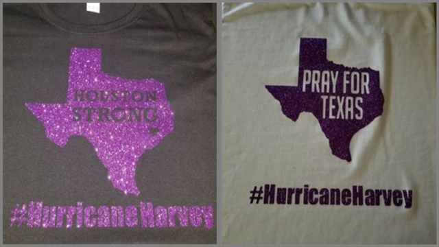 Abilene woman creates Hurricane Harvey t-shirts for family back home