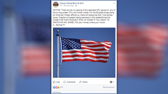 Big Country restaurant decides to stop airing NFL games