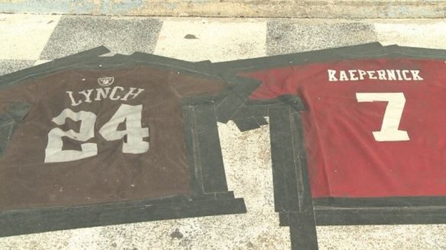 National Football League protests: Veterans bar uses 'Lynch Kaepernick' jerseys to make doormat
