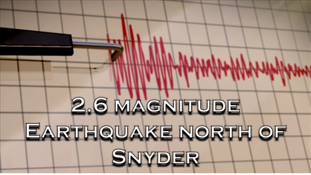 Magnitude 2.6 earthquake recorded north of Snyder