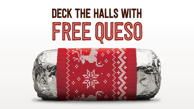 Get free queso at Chipotle on December 12
