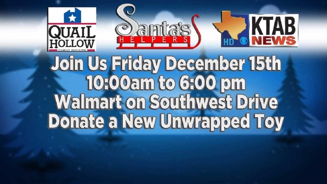 Join KTAB for Santa's Helpers toy drive Friday