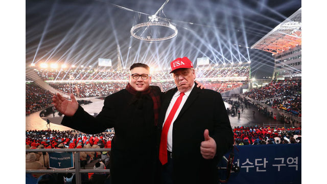 Donald Trump and Kim Jong Un Lookalikes Crash Olympics Opening Ceremony