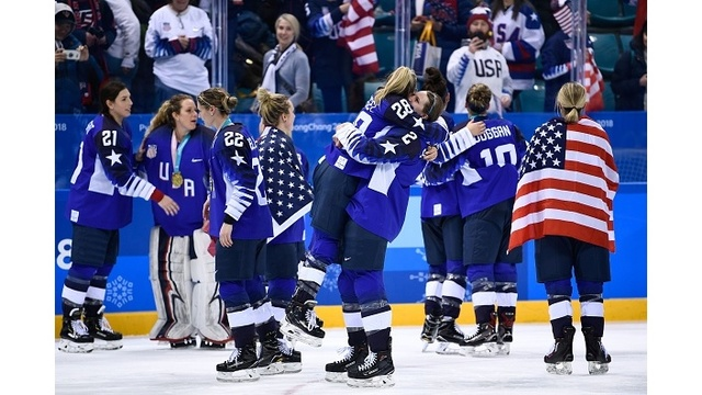 Team USA Celebrating Hockey Win 8