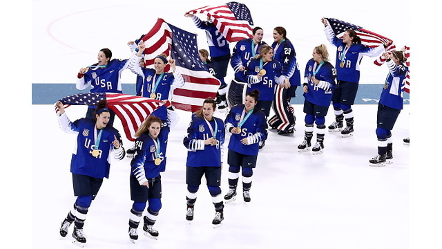 Team USA Celebrating Hockey Win 7