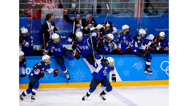 Team USA Celebrating Hockey Win 4