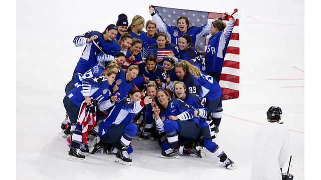 Team USA Celebrating Hockey Win 3